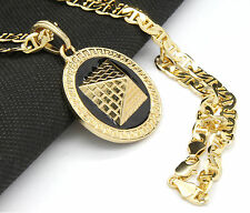 "Mens Round Pyramid Pattern Gold Plated Black 24"" Gucci Chain Pendant Necklace"