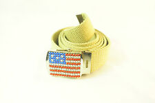 "THE ""AMERICAN DREAM"" STUDDED RHINESTONES BELT CANVAS BEIGE BELT PATRIOTIC(UW2)"