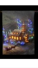 Sunday Church Fibre Optic Tapestry 66cm X 92cm Christmas Lights Decoration Wall