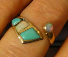 Gorgeous Genuine Fire Opal and Turquoise Ring 14K YG size 8 Ajustable