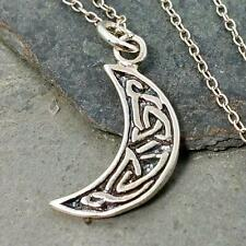 Celtic Crescent Moon Necklace - 925 Sterling Silver - Celestial Moon Charm NEW