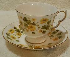 Exquisite Yellow Floral Queen Ann Teacup/Saucer Made In England