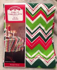 Chevron Christmas Table Cloth Round 70 Inch Diameter Cotton Fabric Holiday Party