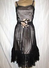 RED HERRING SPECIAL OCCASION BLACK LACE & CHAMPAGNE DRESS SIZE 12