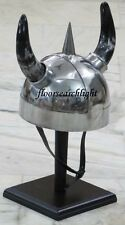 MEDIEVAL ARMOR HORN VIKING HELMET SOFT LINER ROMAN GREEK HELM WITH FREE STAND