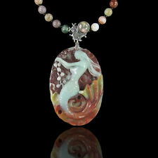 Carved Multi-Color Amazonite Mermaid Necklace DB319000