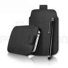 LEATHER PULL TAB SKIN CASE COVER POUCH AND STYLUS PEN FOR VARIOUS PHONES