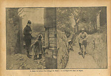Poilus Front Ruines Village Région Verdun Bicyclette Boyau WWI 1916 ILLUSTRATION