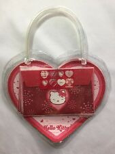 Sanrio 2005 Hello Kitty Heart Letter Set In A Clear Glitter Heart Purse Bag