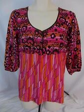 Bob Mackie Wearable Art Womens Small Pink Orange Black Silk Blouse Shirt CB16N