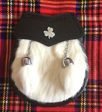 Child's Kilt Sporran White Rabbit Fur Irish Shamrock/Kids Sporrans/Boy Sporrans