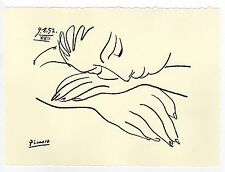 """Pablo Picasso Original Drawing Signed """"War and Peace"""" Registered"""