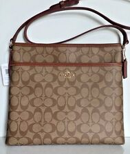NWT Coach 34938 Signature File Bag Crossbody coated canvas handbag Khaki /Saddle