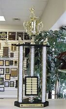FANTASY HOCKEY AWESOME NEW LARGE THREE POST TROPHY 14 YEAR PERPETUAL 35 inches