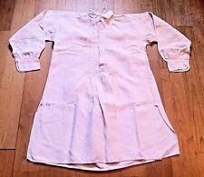 FRENCH 1800s MEN WORK / FARMER / PEASANT NIGHT SHIRT - PLEATED LINEN - NEW - M/L