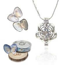 1 Set Love Best Wish Pearl Necklace Oyster Drop Pendant