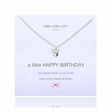 Joma Jewellery a little Happy Birthday heart silver plated necklace sentiment