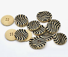 10  Zebra stripe Design Wooden Sewing Craft Buttons 30mm - 3cm