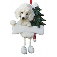 Poodle White Dangling Wobbly Leg Dog Bone Christmas Ornament