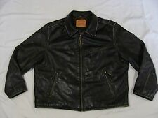 Levi's Mens DISTRESSED BLACK LEATHER Lined Motorcycle CAFE BIKER JACKET XXL 2X