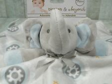 Blankets and Beyond Security Blanket Gray Elephant Blue Lovey Owl Baby New