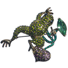 New Gold Tone Green Crystal Frog on Purple Lily Pad Brooch in Gift Box