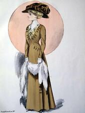 MODA LIBERTY,CAPPELLI,1909,ART NOUVEAU,DAME,MODELLI,ABITI SARTORIA,STAMPA ANTICA