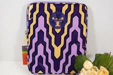 NEW AUTH TORY BURCH LOGO N/S IPAD TABLET SLEEVE PURPLE MULTI CASE COVER $135