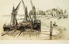 Signed London (Thames View) Etching (1886) by American Artist Joseph Pennell