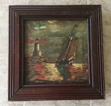 Antique Oil Painting Seascape Light House With Sailboat-Signed.          #1258