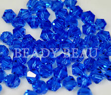 PACKS 4MM OR 6MM QUALITY GLASS CRYSTAL BICONES BEADS CHOOSE COLOUR