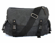 Quality Wash Black Canvas Bag Multi Pockets Shoulder Carry Wide Strap
