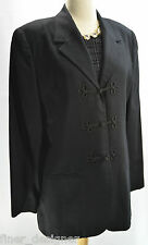 VTG Womens CARROLL REED 100% smooth wool skirt suit 2 piece Black Frog Blazer 12