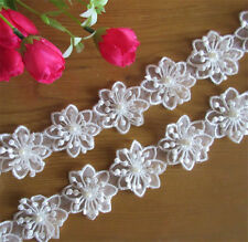 10pcs Vintage Polyester Pearl Flower Lace Edge Trim Ribbon Applique Sewing Craft