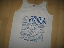 Tennis Excuses Tank Top - Vintage 1980's Court Player T Shirt (w/spots) Wm's Med