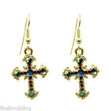 Gorgeous Urban Gothic Fashion  Gold Cross & Mirrored AB Crystal Bling Earrings