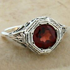 GENUINE GARNET ANTIQUE ART DECO DESIGN 925 STERLING SILVER RING SIZE 5,  #558