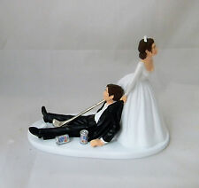 Wedding Party Golf Ball & Club Golfer Cake Topper Beer Cans Dark Hair Couple