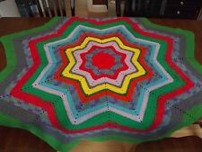 "Vintage Afghan UNIQUE STAR granny Handmade Crochet Quilt Throw Blanket 70"" LARGE"