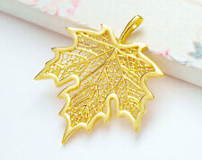 925 Sterling Silver 24k Gold Vermeil Style Maple Leaf Pendant.