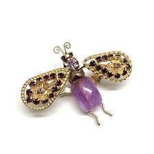 Vintage BUG TREMBLER BROOCH Pin Rhinestone Lavender Gold Bee Unsigned Puddled