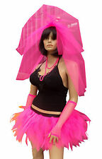 Neon Tutu Hen Party Veil 80's Bride Stag Night Party Costume Net Tie On Flo Hair