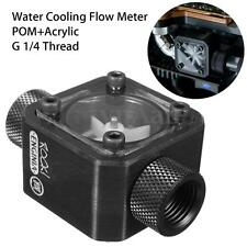 Black Water Cooling Flow Meter Acrylic + POM With 2 Way G1/4 Threaded Screw