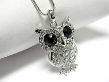 w Swarovski Crystal White Gold Plating Wise Owl Pendant Necklace Gift Box JM