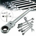 Flexible Pivoting Head Ratchet Combination Spanner Wrench Garage Metric Tool New