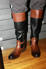 VINCE CAMUTO V0-FLAVIAN BLACK/WHISKEY LEATHER BOOTS SIZE 5.5M