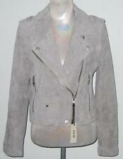 SL8 Suede Leather BIKER / MOTORCYCLE JACKET Women L FitsLike M/L Gray MP$158 NWT