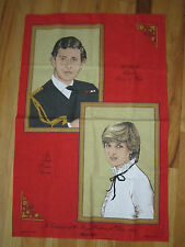 "1981 PRINCESS DI & PRINCE CHARLES WEDDING - ARTWORK ON COTTON - 29"" X 18"" - OFCC"