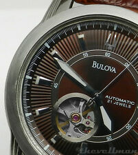 Mens Bulova BVA 96A108 Automatic Mechanical Skeletal Textured Brown Dial Watch