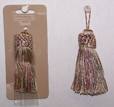 """12 Tassels Mauve, Sage Green, Yellow Color Rayon  3-1/4"""" New Sewing Craft Supply"""